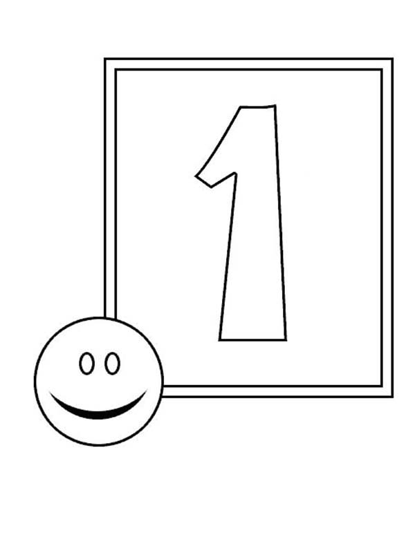 Number One Smile Face Coloring Page
