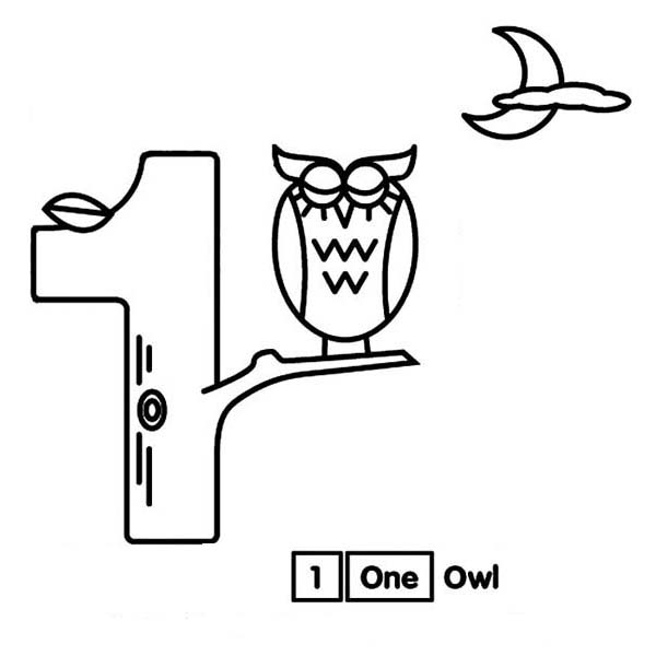 Number One Tree and an Owl Coloring Page