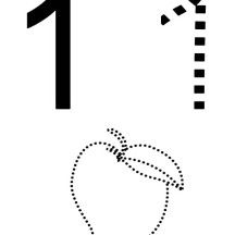 Number One and Mango Outline Coloring Page