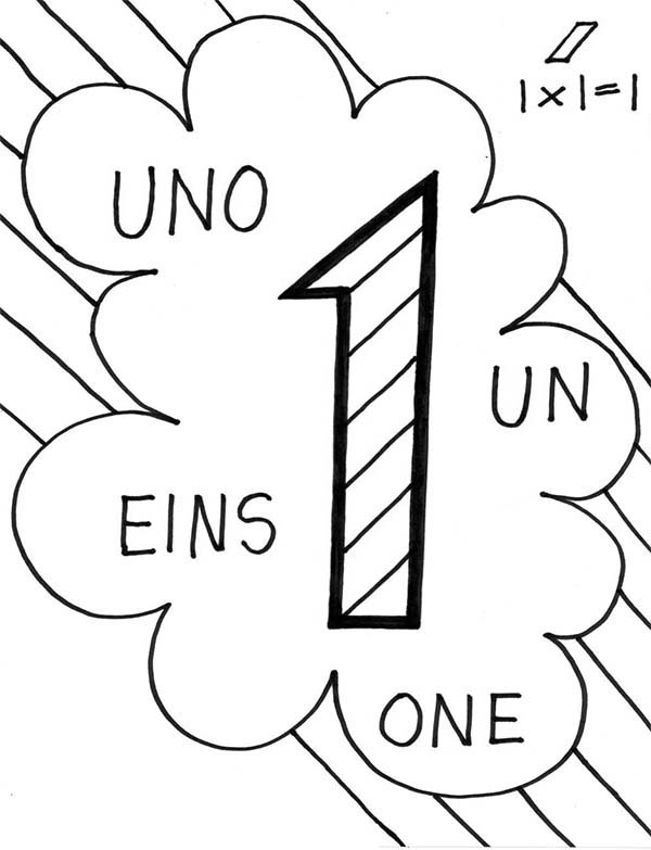 Number One in Other Language Coloring Page