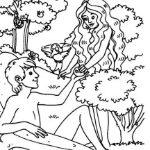 Original Sin of Mankind in Garden of Eden Coloring Page