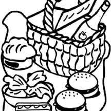 Picnic Basket Full of Food Coloring Page