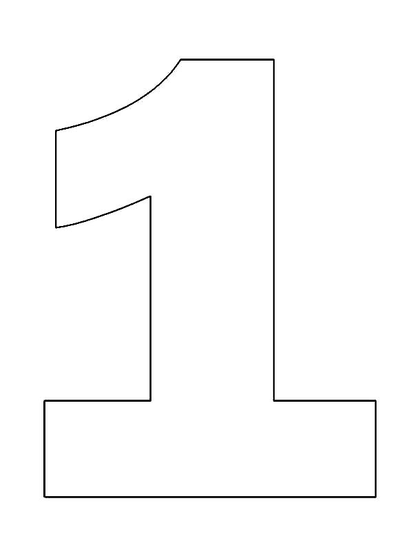 Picture of Number One Coloring Page