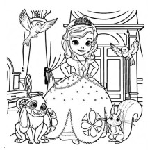 Picture of Princess Sofia and Friends in Sofia the First Coloring Page