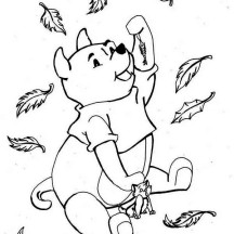 Pooh and Cat Enjoying Fall Leaf Coloring Page