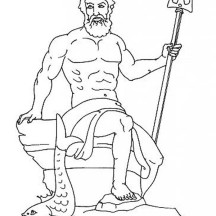 Poseidon from Greek Gods and Goddesses Coloring Page