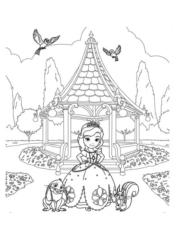 Princess Sofia and Friends at Garden in Sofia the First Coloring Page