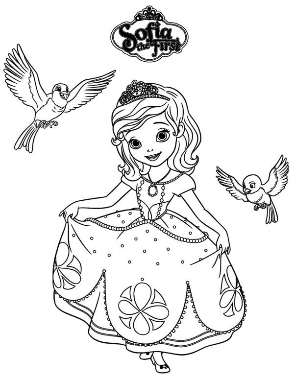 - Princess Sofia And Robin And Mia In Sofia The First Coloring Page - NetArt