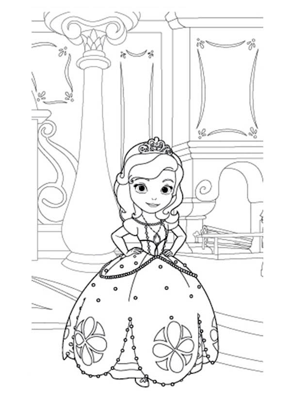 Princess Sofia the First in Her Room Coloring Page