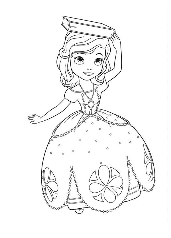 - Princess Sofia The First With Book On Her Head Coloring Page - NetArt