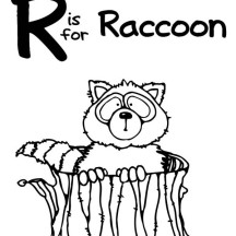 R is for Raccoon Coloring Page