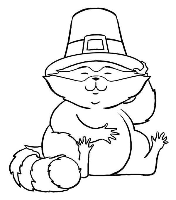 Raccoon with Hat Coloring Page