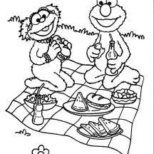 Relaxing and Eating in Picnic Coloring Page