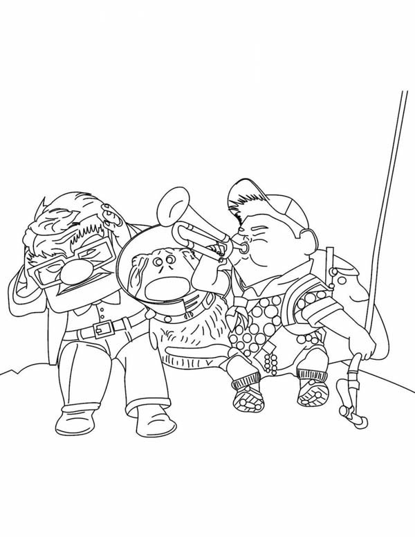Russell Blow Trumpet while Carl and Dug Coverig Their Ears in Disney Up Coloring Page