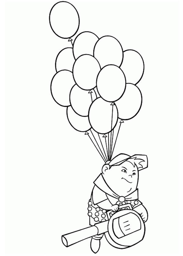 Russell from up coloring pages ~ Russell Flying with Baloons in Disney Up Coloring Page ...