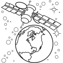 Satellite of Spaceship Coloring Page