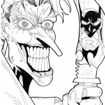 Scary Joker with Knife Coloring Page