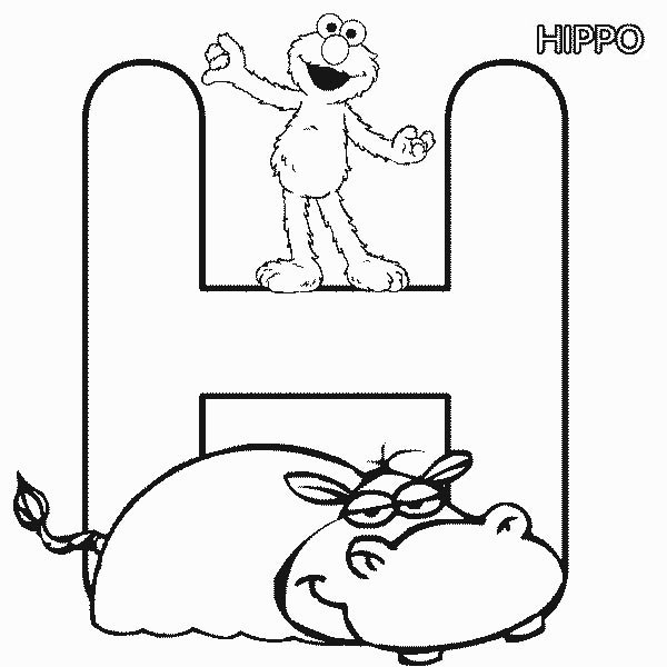 Sesame Street Elmo with Hippo Coloring Page