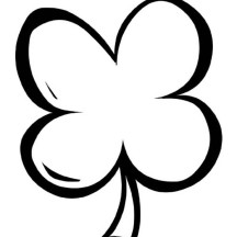 Simple Drawing of Four-Leaf Clover Coloring Page
