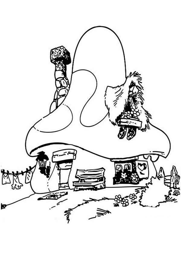Smurf House in Houses Coloring Page
