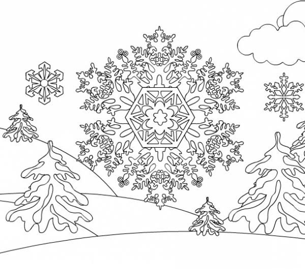 Snowflakes on Mountain Coloring Page