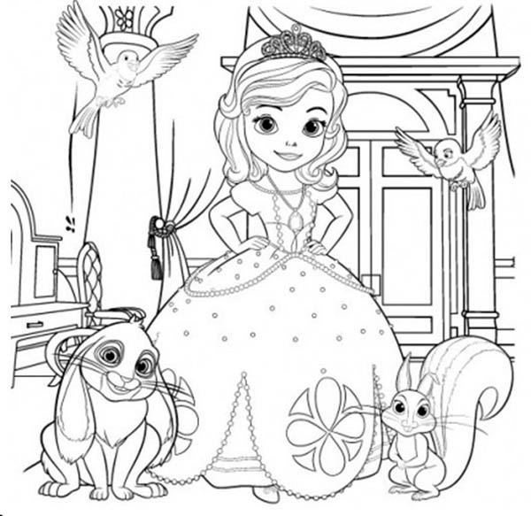 Sofia The First and Her Friends Coloring Page