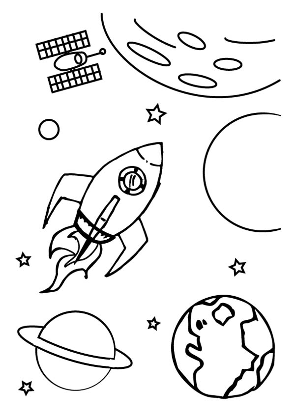 Spaceship Out Of Galaxy Coloring Page Netart