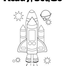 Spaceship and Stars Coloring Page