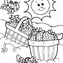 Strawberry Shortcake Basket for Picnic Coloring Page