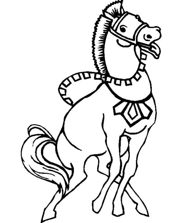 Strong War Horse in Horses Coloring Page