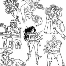 Super Hero Squad and Evil Villains Coloring Page