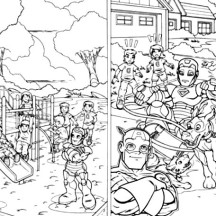 Super Hero Squad on Playground Coloring Page
