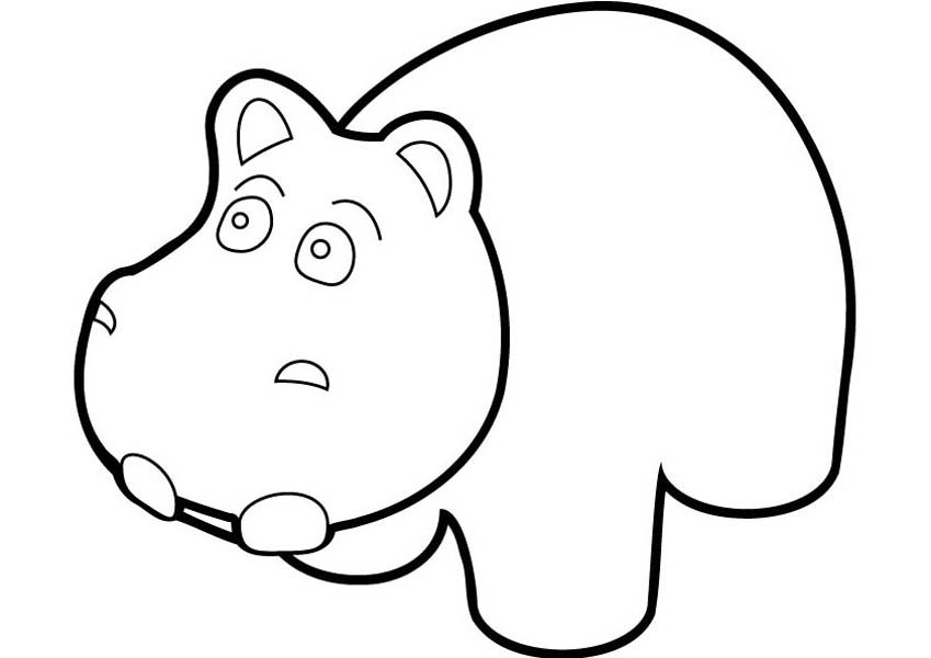 Surprised Hippo Coloring Page