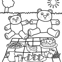 Teddy Bears Picnic Coloring Page