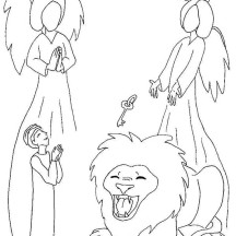 The Bible Story of Daniel and the Lions Den Coloring Page
