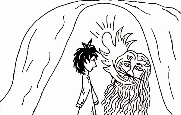 The Lion and Daniel in Daniel and the Lions Den Coloring Page