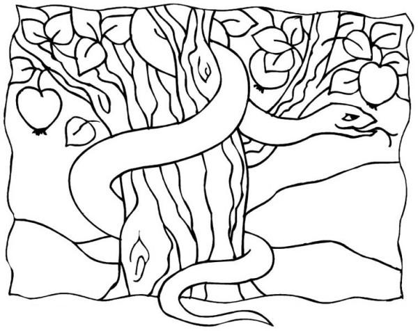 The Serpent in Garden of Eden Coloring Page