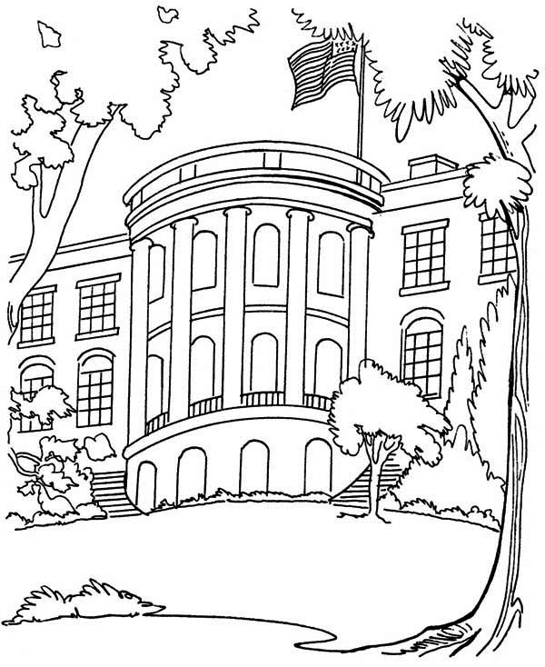 The White House in Houses Coloring Page