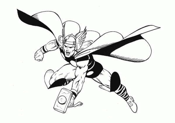 Thor Attack Coloring Page