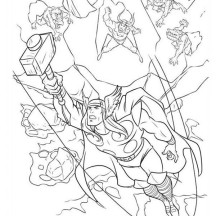 Thor Beat All Enemies Coloring Page