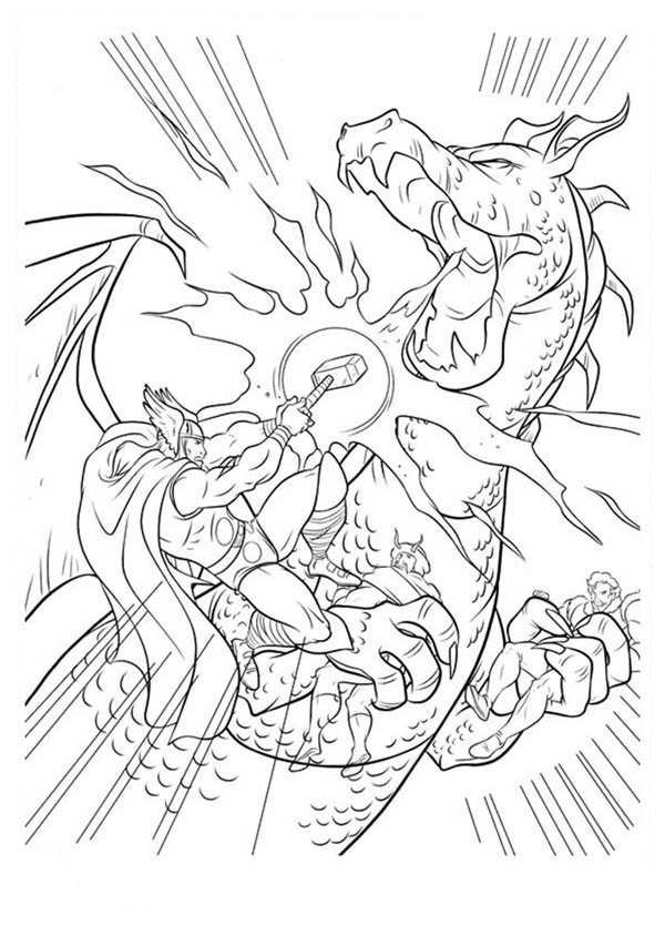 Thor Defeating Dragon Coloring Page
