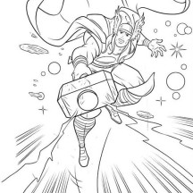 Thor Flying Over Galaxy Coloring Page