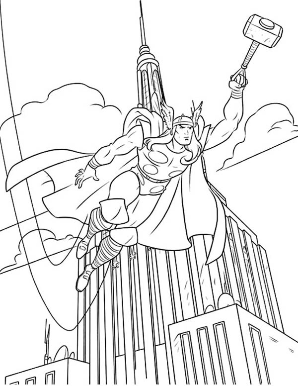 Thor Over the Empire State Building Coloring Page