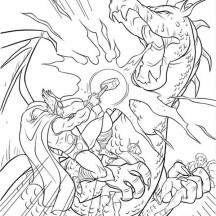 Thor Rescuing His Friend from Dragon Coloring Page