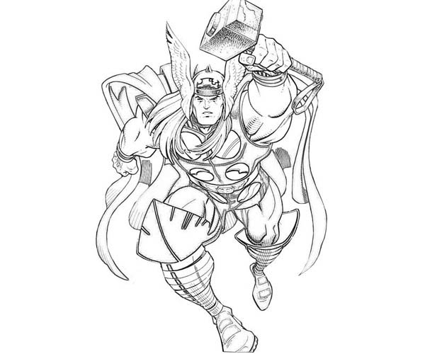 Thor The Mighty God Coloring Page