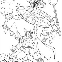 Thor Using Mjolnir Power Coloring Page