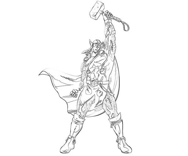 Thor Winning Sign Coloring Page