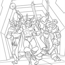 Thor and Valhalla Knights Coloring Page