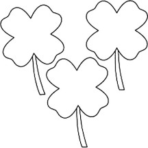 Three Four-Leaf Clover for Lucky Charm Coloring Page