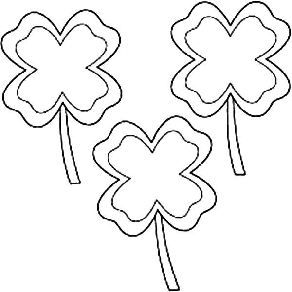 Three Four-Leaf Clover for Triple Luck Coloring Page